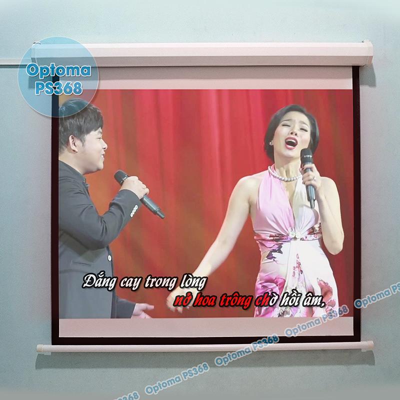 Hát Karaoke từ Youtube trên máy chiếu Optoma PS368 và màn chiếu điện 120inch