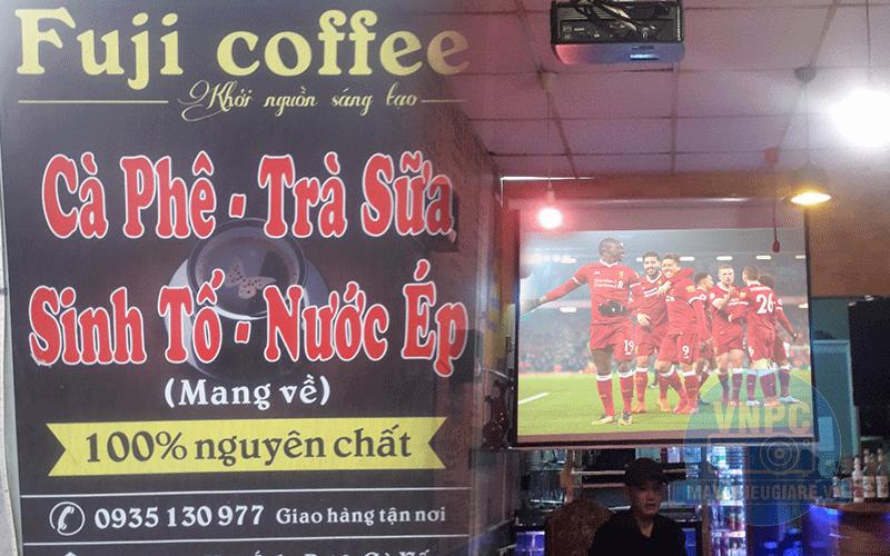 Lắp đặt trọn bộ máy chiếu bóng đá cho quán Cafe Fuji tại TpHCM