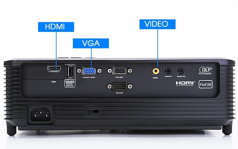 Máy chiếu có đầy đủ các cổng kết nối HDMI, VGA và Video