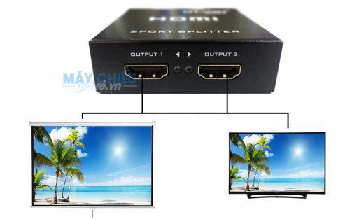 Xem tivi bằng máy chiếu vối bộ chia HDMI 1 ra 2