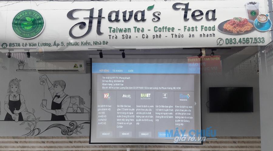 VNPC lắp đặt hoàn thiện bộ máy chiếu Optoma PW450 tại Hava's Tea
