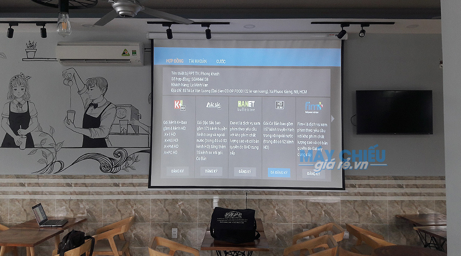 Optoma PW450 có thể chiếu tốt trên màn chiếu 100 đến 150 inch