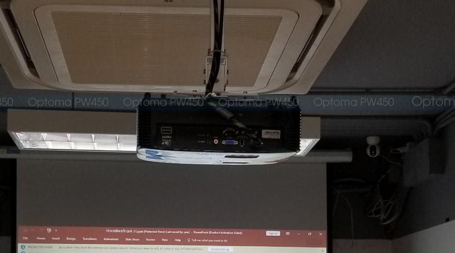 Lắp máy chiếu Optoma PW450 cho văn phòng Công ty Polvita Hà Nội