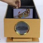 Dùng điện thoại làm máy chiếu bằng hộp carton và kính lúp