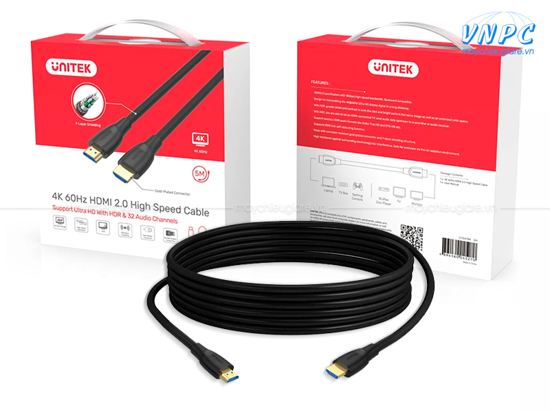Cáp HDMI 2.0 Unitek Ultra HD 4K 60Hz