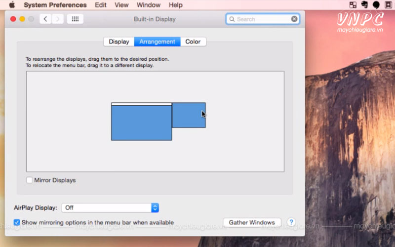 Chia 2 màn hình máy chiếu và máy tính macbook độc lập